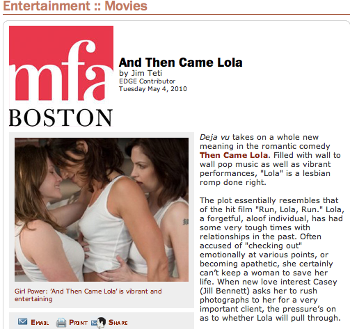 And Then Came Lola screens in Boston